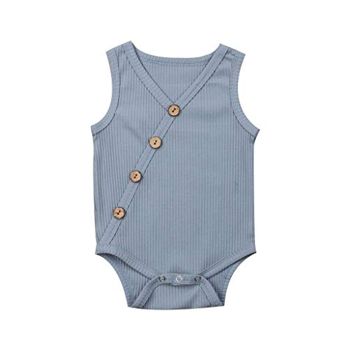 Baby Solid Stripe Onesies Bodysuits Toddler Kids Girls Boys Sveless Romper Sunsuit Clothes Jumpsuit 3M-24M Light Blue]()