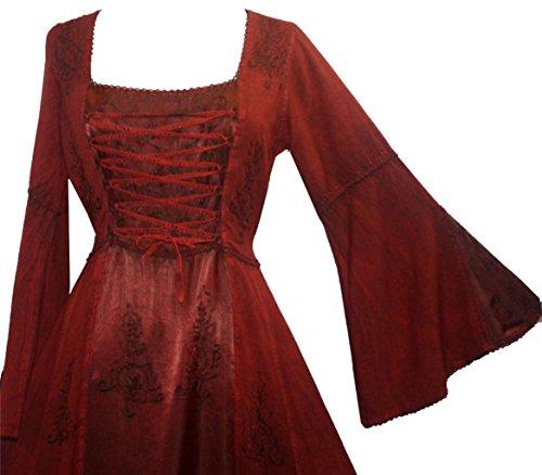 Commerçants Agan 003 Dr Robe Médiévale Robe Manches Cloche Corset Renaissance Gothique Bordeaux - 2