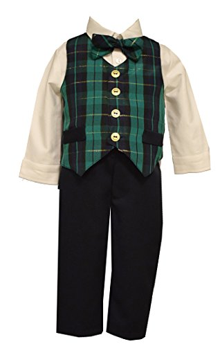 Boys Holiday Outfit Navy Green Plaid Vest Shirt Pants Set Bonnie Jean (18 Months) Boys Holiday Plaid Vest