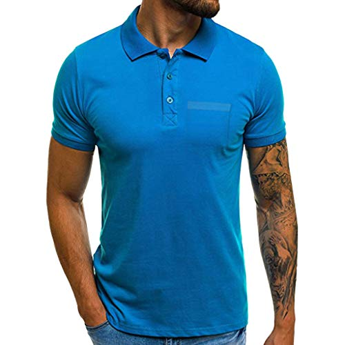 (Sunyastor Personality Tee Men's Summer Casual Slim Short Sleeve Pockets Polo T-Shirt Standing Collar Muscle Top Blouse Blue)