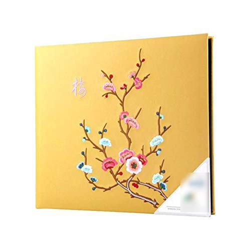 (Photo Albums 600 Fotoes Large Capacity Handmade Karizma Chinese Embroidery Leather Wedding/Family Photo/Foto Albums 4 Color,Yellow Album)