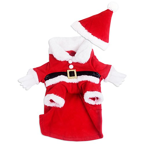 [ANSON Christmas Dog Clothes Santa Doggy Costumes Clothing Pet Apparel Red (L, Red-02)] (Weenie Costumes)