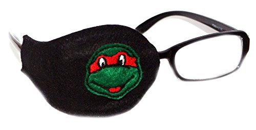 Kids and Adults Orthoptic Eye Patch For Amblyopia Lazy Eye Occlusion Therapy Treatment Design #18 Turtle on Black
