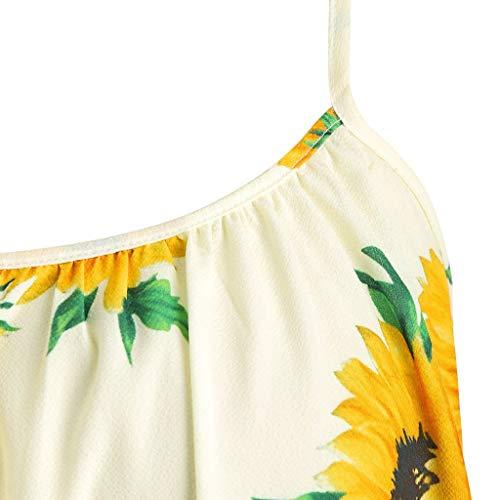 Myoumobi_ Women Fashion Sunflower Print Mini Dress Short Sleeve Bowknot Bandage Split Dress Bohemian Strap Swing Dress by Myoumobi_Dress (Image #2)