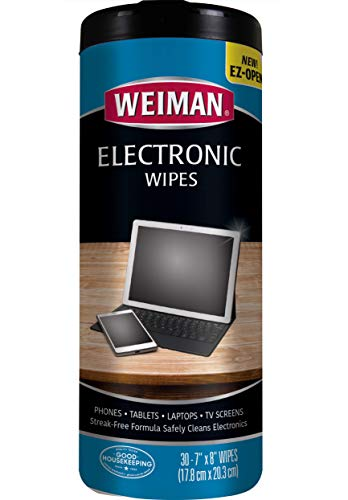 - Weiman Anti-Static E-Tronic Electronic Cleaning Wipes For LCD Screens, Computers, TVs, Tablets, E-readers, Smart Phones, Netbooks, and Touchscreens (30 Wipes)