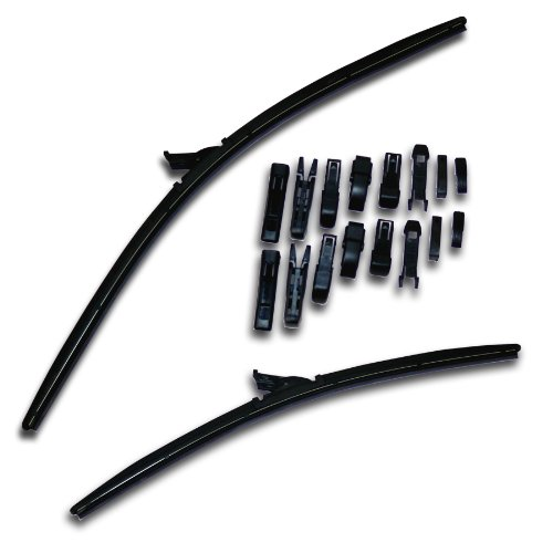 Pair Windshield Wiper Arms - TuningPros WBU-26-17 Multiple Adapter Bracketless Windshield Wiper Blade, 26