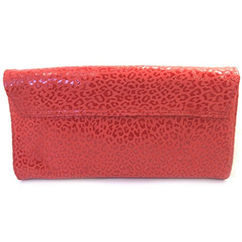 Bolso de la bolsa de cuero 'Frandi'rojo (2 fuelles)leopardo.