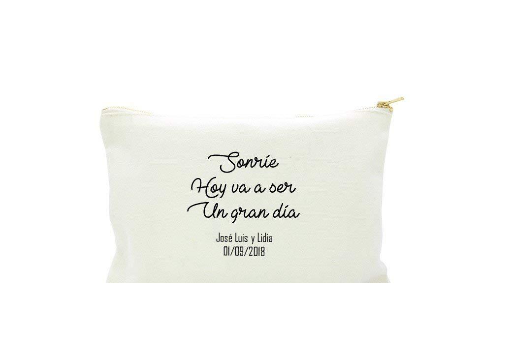 Neceser con frase personalizada en algodón blanco.3 TAMAÑOS Regalo ...