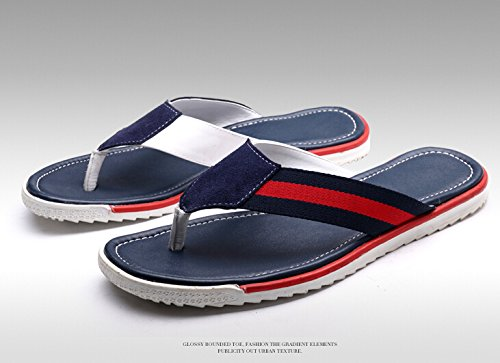 Happyshop(TM) Fashion Leather Slip on Comfort Flip Flops Thongs Sandals Beach Shoes Blue IPthI9EaBL
