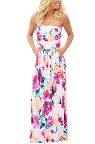 White Strapless Wedding Dresses - Kbook Womens Strapless Vintage Floral Print Summer Beach Party Boho Pocket Maxi Dress, Large, White Floral