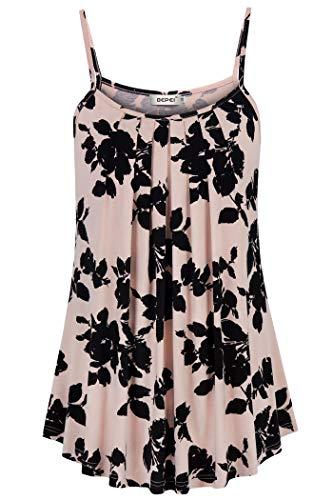 - BEPEI Tank Tops for Women Plus Size,Flower Printed Decoration Cosy Cami Versatile Shirt Nursing Blouse Home House Clothes Black Pink 2XL