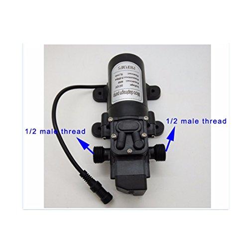 12V 60W 5L/min Micro Diaphragm Pump With 18m(60feet) Length Misting System, Fresh Water Pressure Diaphragm Pump, Hose Clamps Self Priming Sprayer Pump