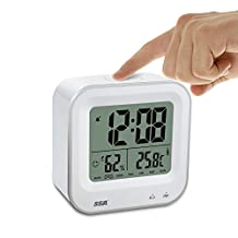 Digital Alarm Clock Rechargeable,SSA Small Desk Clock with Temperature, Humidity, Week 12/24h Display, Snooze, Travel Clocks for Teens, Kids(Square)
