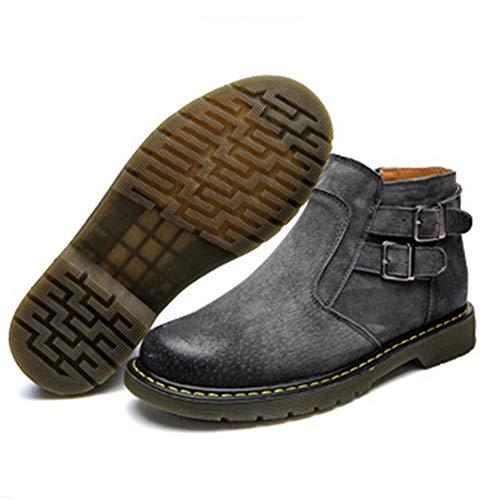 Boots Feidaeu Sangle Courtes Cuir Bride Zip Hommes Résistant Chaussures Casual Plates Classique Bottines Moto Gris Bottes Mode Hdgxdr