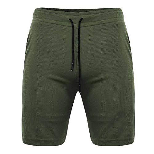 DEESEE(TM)Men's UnderwearsMen's Summer Fast Drying Pockets Inside Training Running Sports Short Pants (XXL, Green)