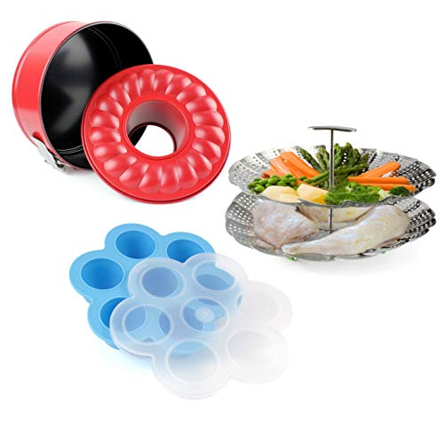 Instant Pot Accessories Starter Expansion Kit Including Double Steamer, Silicone Egg Mold, and Bundt Removable Cake Pan for Cheesecake and Lasagna -