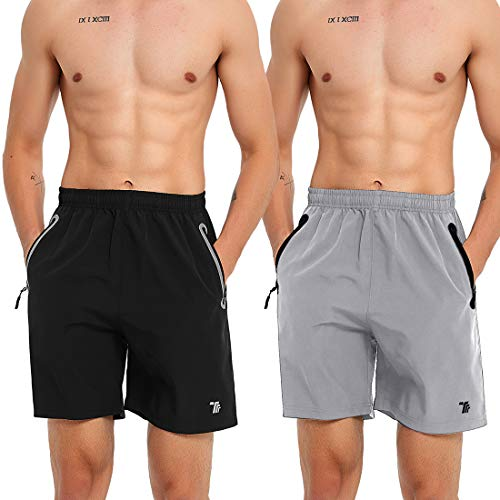 BGOWATU 2 Pack Men Running Shorts Quick Dry Reflective Workout Shorts Zipper Pocket
