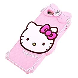 ee5ee4c8e664e1 iphone 6S Plus Hello Kitty Case iphone 6 Plus Cartoon Case,MODEFAN Cute 3D  Cartoon Pink Crystal Hello Kitty Style Rubber Silicone Soft Gel Skin Case  Cover ...