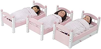Emily Rose 18 Inch Doll Bed FurniturePink and White Triple Bunk Bed Includes