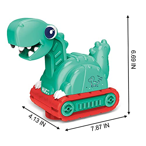 FUN LITTLE TOYS Music Dinosaur Toy Car for Toddlers, Bump and Go Dino Tank Trucks with Sound, Christmas Birthday Gifts for Kids Boys and Girls 3 4 5 6 7 Years Old Green