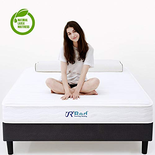 Sunrising Bedding 8 inch Natural Latex Queen Mattress & Independently Encased Innerspring Coil Hybrid Mattress - Not Sagging and Sink - 120 Day Free Return