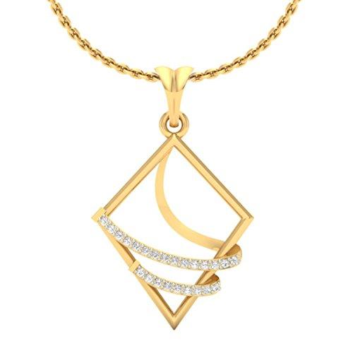 14K Or jaune 0,15CT TW Round-cut-diamond (IJ | SI) diamant Pendentif