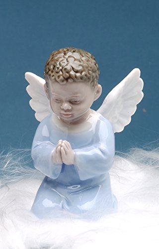 Cosmos Gifts 1282 Fine Porcelain Inspirational African American Angel Boy Praying Mini Figurine, 3-1/2