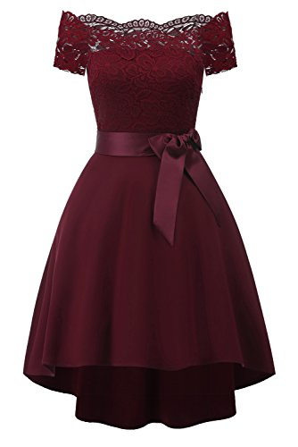 Avril Dress Princess Mini Formal Dress Bateau Neck Short Sleeves Homecoming Dress Cocktail A-line Swing Dress with Bowknot-S-Burgundy