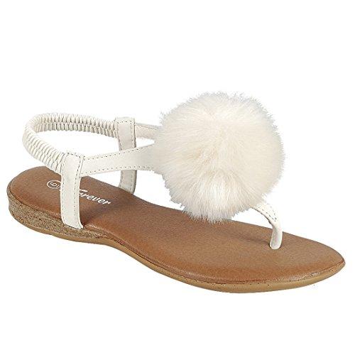 Per Sempre Ie66 Sandalo Da Donna Con Cinturino Alla Caviglia Perizoma Bianco