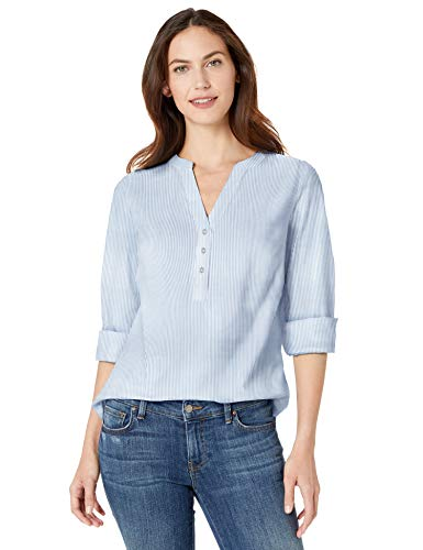 Amazon Essentials Women's Long-Sleeve Cotton Popover Shirt, Mini French Blue Stripe, XXL