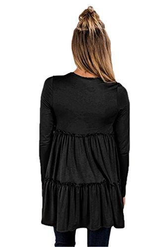 Waist Plisado Picardias Vuelo T De Blusón Negro Blouse Volantes Blusa Volante Camiseta Playera shirt Bajo Empire Top Tee Trapecioe dqC8Hdf