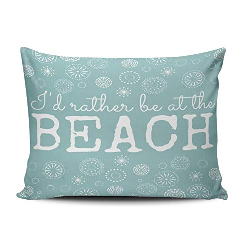 - WEINIYA Bedroom Custom Decor I'd Rather Be at The Beach Aqua and White Mint Turquoise Throw Pillow Cover Cushion Case Fashion One Sided Printed Design Boudoir 12x16 Inches