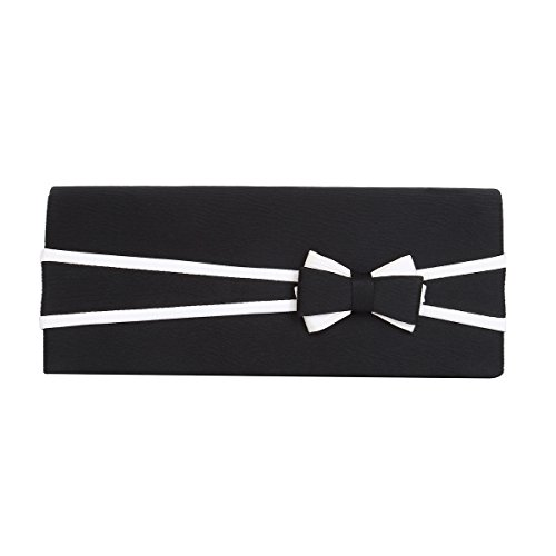 Premium Matte 2-Tone Bow Front Flap Clutch Evening Bag, Black (Handbag Bow Purse)