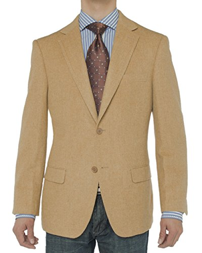 (LN LUCIANO NATAZZI Men's Luxurious Camel Hair Blazer Modern Fit Suit Jacket (40 Long US / 50 Long EU, Camel))