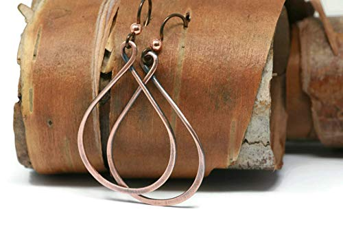 Tribal Pewter Rings - Copper Teardrop Hoop Earrings Hypoallergenic Antique Finish 3 Sizes