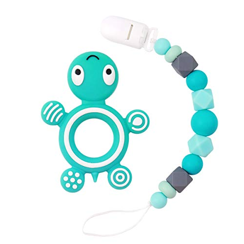 MCGMITT Silicone Pacifier Clip with Turtle Teether, Binky Holder Teething Beads Relief Toys for Baby Girls Boys