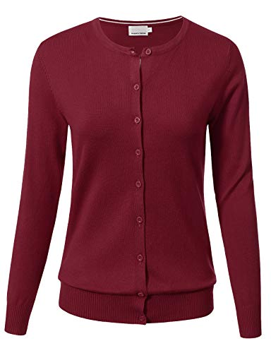ARC Studio Women Button Down Long Sleeve Crewneck Soft Knit Cardigan Sweater XL Burgundy
