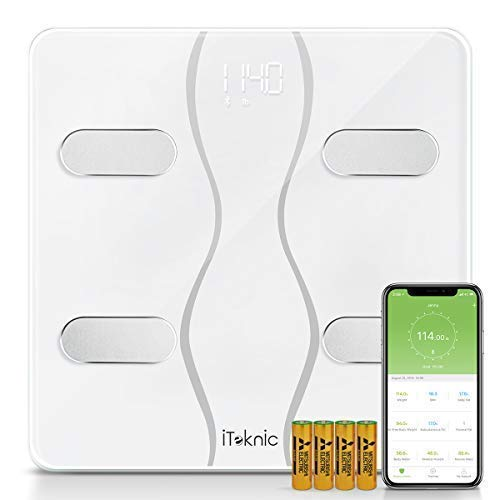 iTeknic Bluetooth Body Fat Scale, Smart BMI Weight Scale Digital Body Composition Analyzer with iOS and Android APP, 2 Frequency, 13 Datum Graph, Unlimited Users, 400lb Large Tempered Glass, White