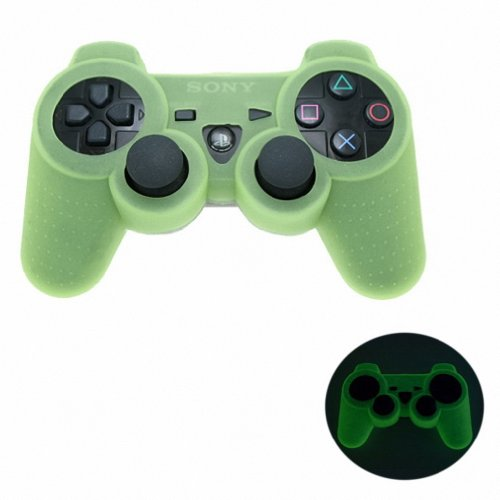 GREEN GLOW in DARK Playstation 3 PS3 Wireless Game Controller Anti-Slip Silicone Case Skin Protector Cover (Many Colors Available)