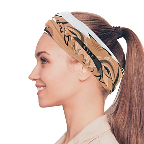 Danexwi Rock Gesture Rap Funny Dog Elastic Headbands Head Wrap Shawl Sports Sweatband Face Mask Magic Scarf Hair Accessories Bands Ties for Women Men Girls Running Workout Fitness Yoga ()
