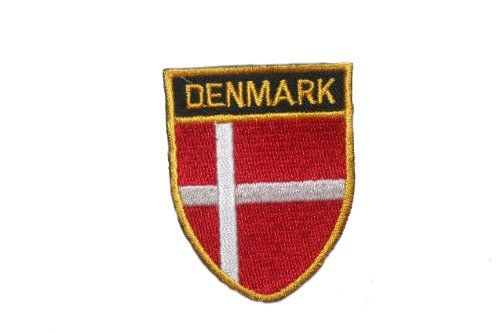 Denmark Country Flag OVAL SHIELD Embroidered Iron on Patch Crest Badge 2 X 2 1/2 Inch .. New