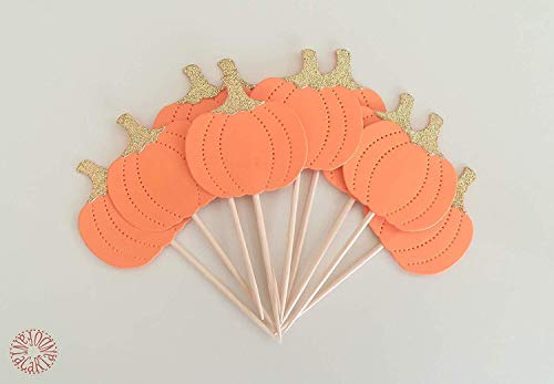 Kit 10 pumpkin cupcake toppers to decorate the table for halloween, baby shower, first birthday, baby girl cinderella, fall theme -