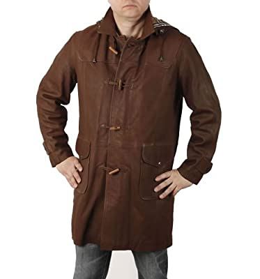 Simons Leather Men's 3/4 Length Leather Duffle Coat