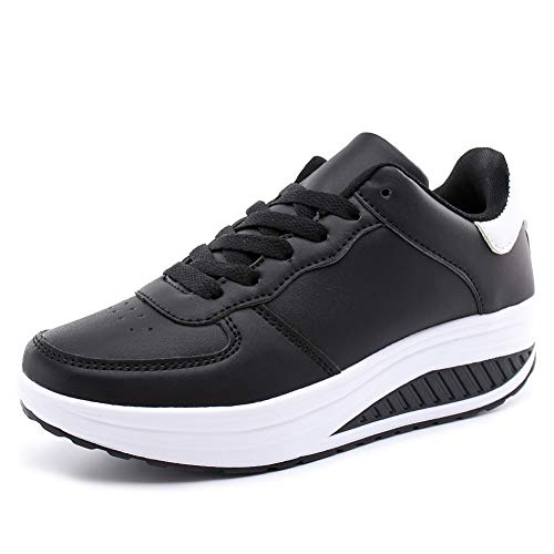 Casual New Sports Shoes Shoes Shoes Fly Students Black Woven Thick Bottom 43 35 And Shoes Spring Leather JIAODANBO Autumn Women'S Rocking Platform vgtzwPnqC
