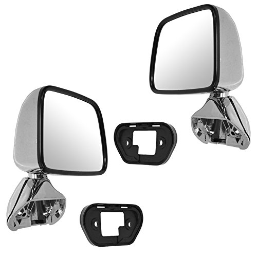 Mirror View 4runner Side (Manual Side View Mirrors Chrome Pair Set for 87-88 Toyota Pickup Truck 4Runner)