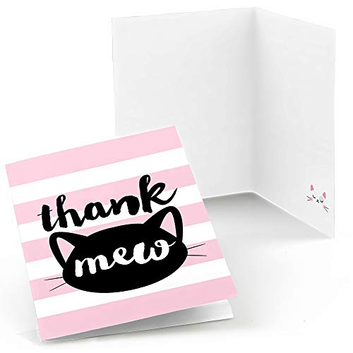 Purr-FECT Kitty Cat - Kitten Meow Baby Shower or Birthday Party Thank You Cards (8 Count) (Purr Fect Kitten)