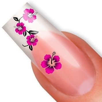 Nailart Nail Tattoo Sticker Hibiskus Blüte Blume Pink