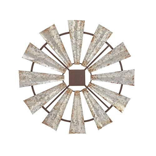 - Metal Windmill Wall Decor, Full Wind Mill Sculpture Rusty Blades Antique Silver Galvanized Finish, Rustic Farmhouse Chic Country Living Bedroom Pinwheel Yard Garden Art Decoration 30