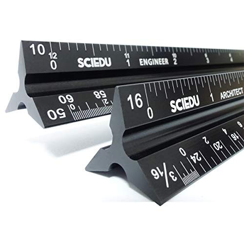Architect Scale and Engineer Scale Set - Two Aluminum Rulers with Velvet Bags(12