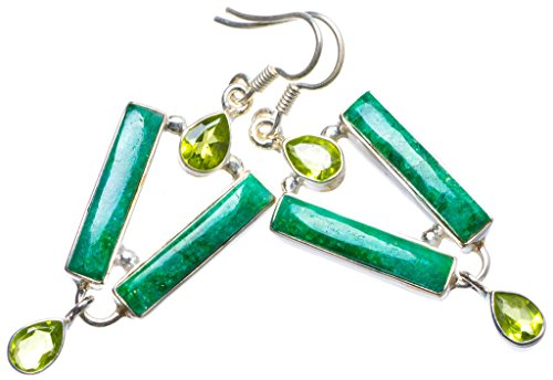 20mm Peridot Emerald - StarGems(tm) Natural Emerald and Peridot Handmade Unique 925 Sterling Silver Earrings 2